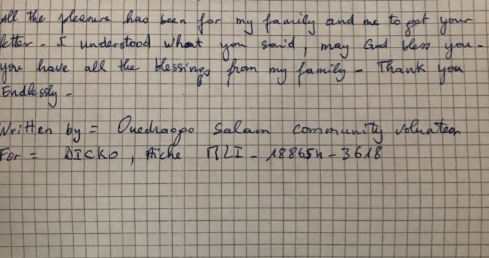 Aiche from Mali sent us and Aqua a letter