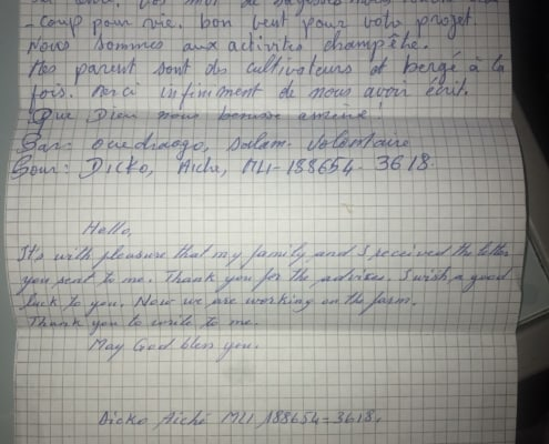 Aiche in Mali sent Iconnectu and Aqua Plumbing & Air a beautiful letter