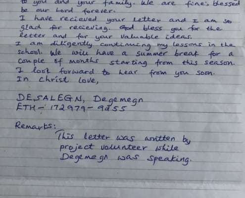 Degemegn in Ethiopia sent DavisBros Heat and Air and Iconnectu a letter today.